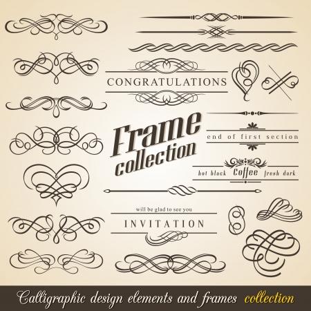 calligraphique: �l�ments de conception calligraphiques et cadres. Collection Vintage.