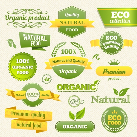 Eco Stamps, Banners and Labels. Eco Style.