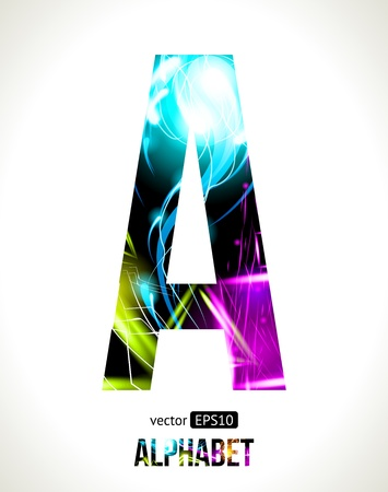 customizable:  light effect alphabet. Easy customizable.  Letter  A.