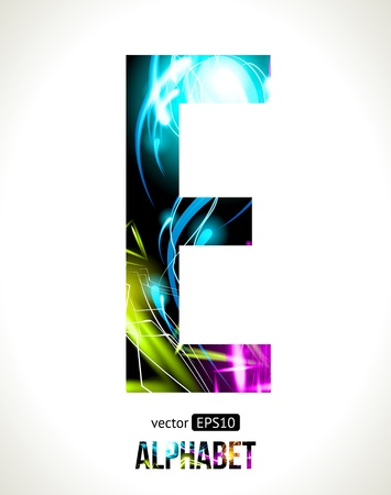 light effect alphabet. Easy customizable.  Letter  E. Vector