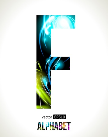 light effect alphabet. Easy customizable.  Letter  F. Vector