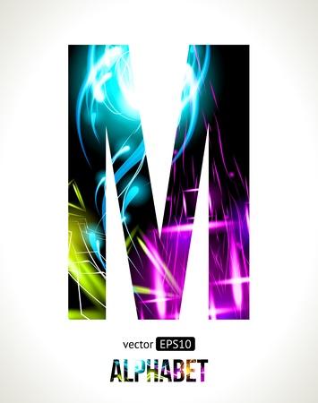 letra m: alfabeto efecto de luz. F�cil de personalizar. Carta de M.