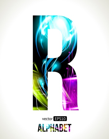 light effect alphabet. Easy customizable.  Letter  R. Vector