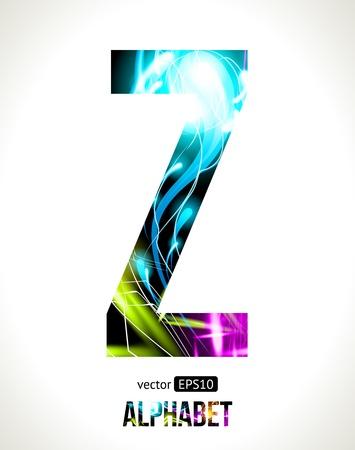 letter z:  light effect alphabet. Easy customizable.  Letter  Z. Illustration