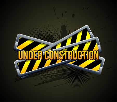 Under construction  Color Icon on Grunge Background   Vector