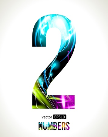 Vector design light effect numbers  Easy customizable   Number  2  Vector