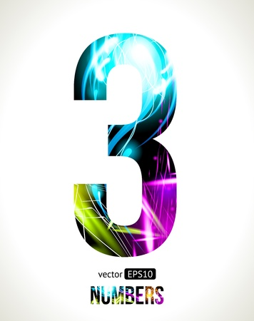 Vector design light effect numbers  Easy customizable   Number  3  Vector
