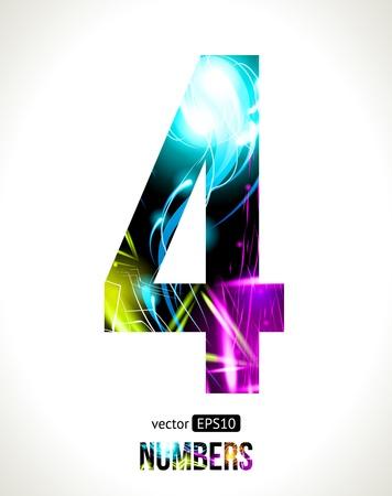 cuatro elementos: Vector design números efectos de luz número fácil personalizable 4