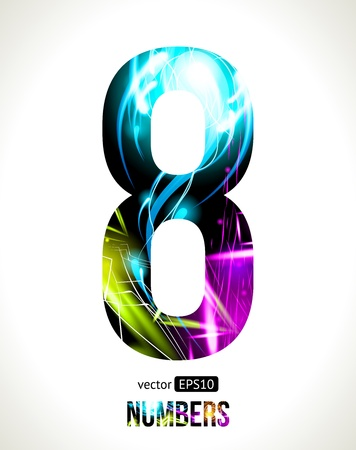 Vector design light effect numbers  Easy customizable   Number  8  Vector