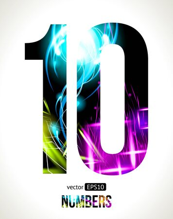 number 10: Vector design light effect numbers  Easy customizable   Number  10  Illustration