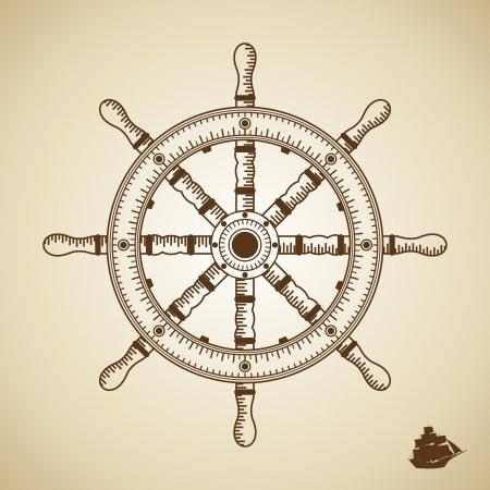 helm boat: Altura del timón Vector calidad ilustración del viejo estilo