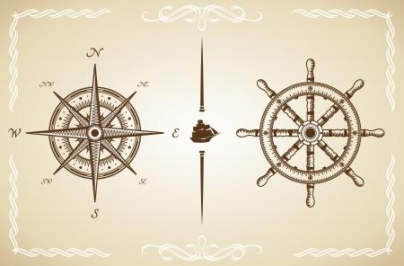 compas de dibujo: Vector Vintage brújula y timón