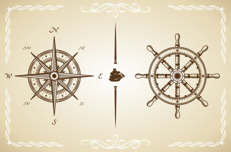 nautical vessel: Vector Vintage Compass and Rudder  Illustration