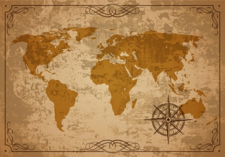 vintage world map: Old Map  Vector Paper texture