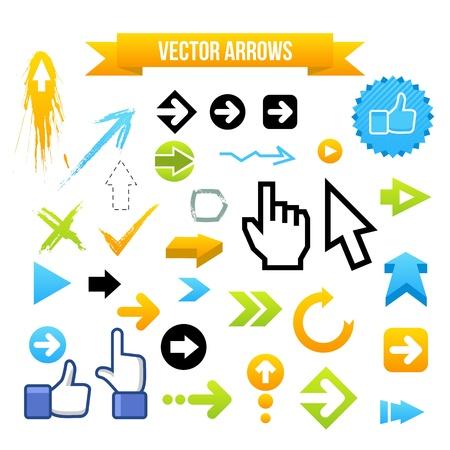 orange arrow: Collection of Vector Arrows. Web design illustration.