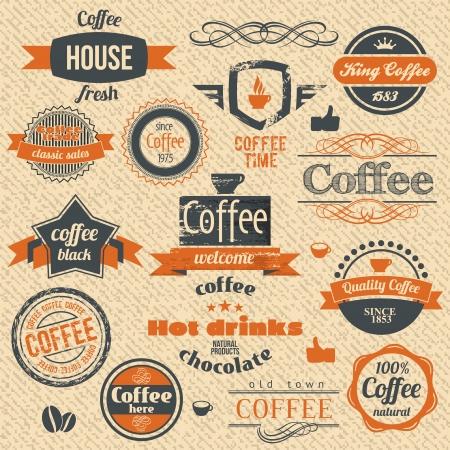 ベクトル コーヒー スタンプとラベル デザインの背景。  イラスト・ベクター素材