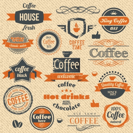 Vector Coffee Stamps and Label Design Backgrounds. Illustration