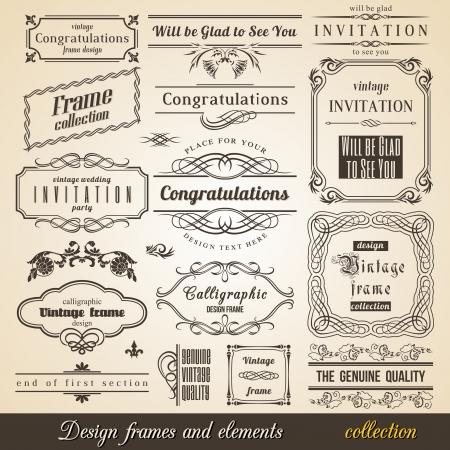 枠線の隅とフレーム コレクション頭角を現します。ベクトル カードの招待状のテキストです。