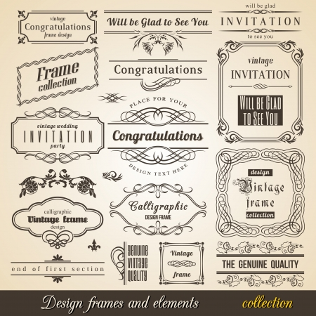 Flourish Border Corner and Frame collection. Vector Card Invitation text.
