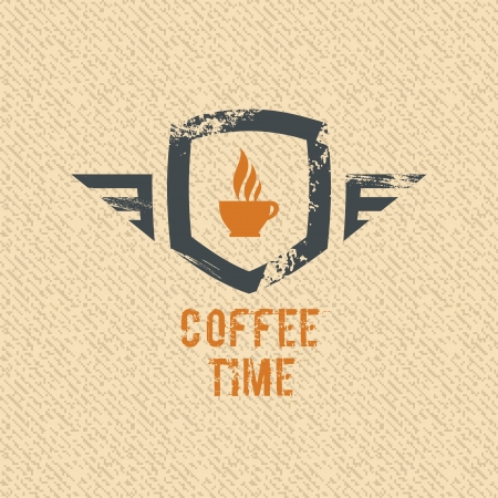 coffee machine: Coffee time label. Grunge vector design.