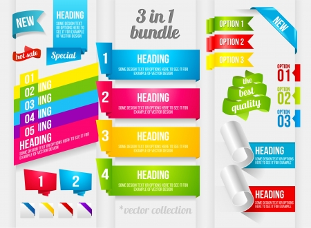 Ribbon, Corner and Banner collection. Vector