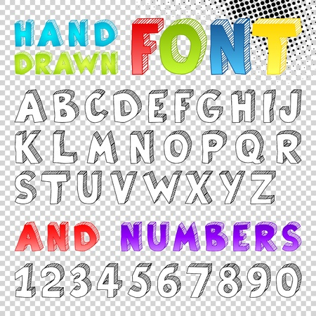 fonts 3d: Hand drawn sketch font. Symbol. Illustration