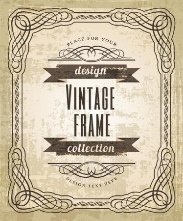 Vintage frame.  Art Background.  イラスト・ベクター素材