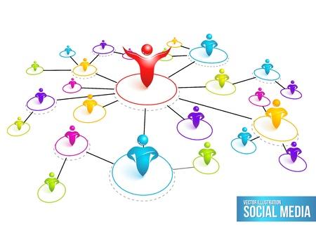 社会的なメディア ネットワーク。  イラスト・ベクター素材