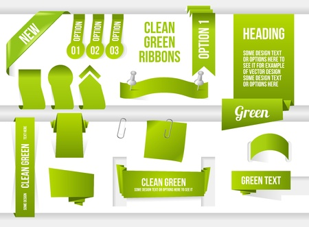 Bundle of Green Web Elements. Ribbons, banners, corner and speech bubble. Vector