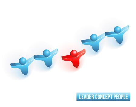 main group: Leader concept people.  3d illustrationon white background.