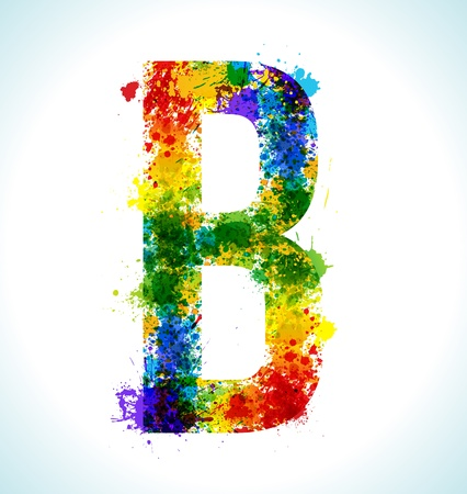 letter b: Color paint splashes. Gradient vector font. Letter B