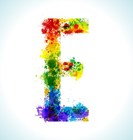Color paint splashes Letter E 向量圖像
