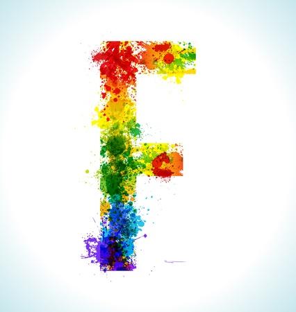 Color paint splashes Letter F