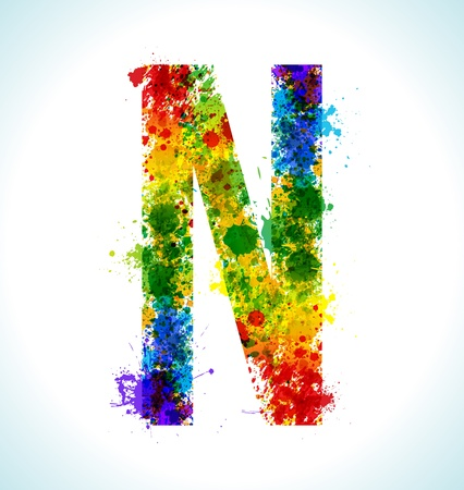 Color paint splashes. Gradient vector font. Letter N Vector