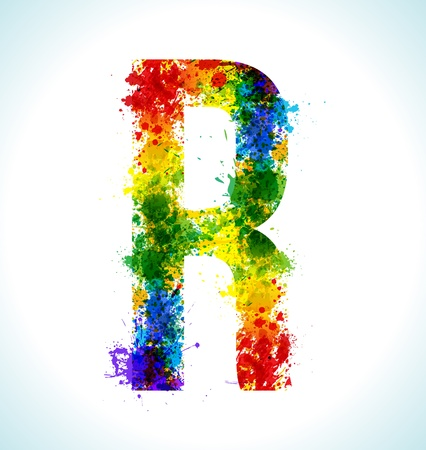 Color paint splashes. Gradient vector font. Letter R
