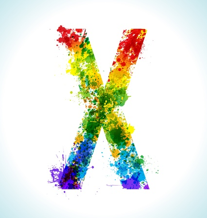 Color paint splashes Letter X Vector