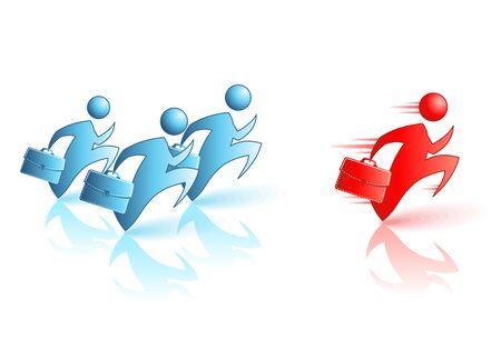 black business men: Businessman Running Concept illustration. Catch the Leader, Fast Service. Illustration