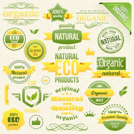 Vector Organic Food, Eco, Bio Labels and Elements. Vektorové ilustrace