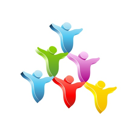global work company: People pyramid concept icon.