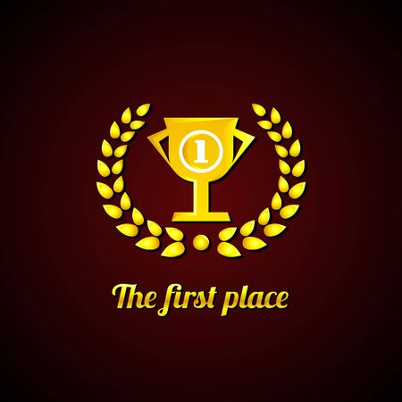The first place. Gold Laurel Wreath and cup. Vector