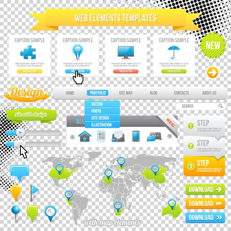 Web Elements Template, Icons, Slider, Banner and Buttons. Vector Map with Marks. Vector
