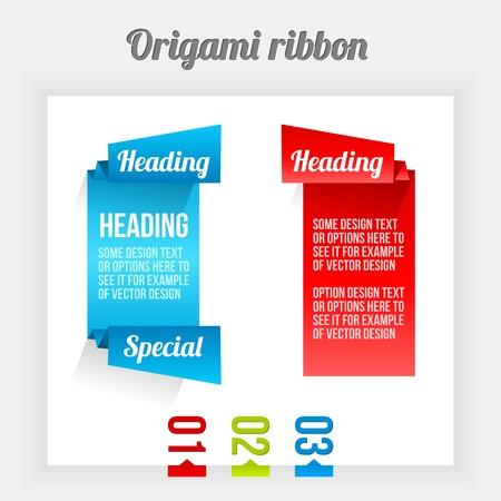 Origami ribbon. Clean Design Elements. Color Banners. Ilustração