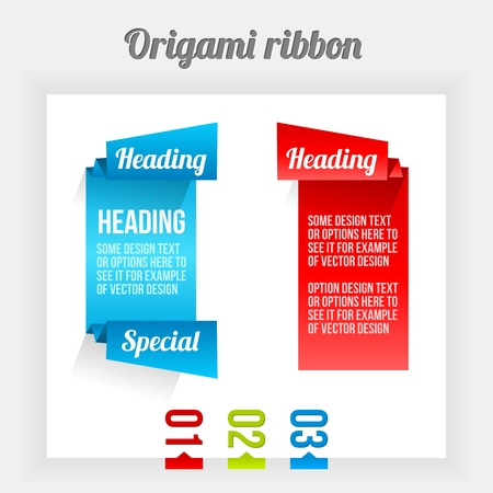 Origami ribbon. Clean Design Elements. Color Banners. Stock Vector - 16398701
