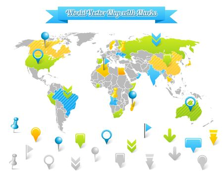 flags world: World Vector Map with Marks.