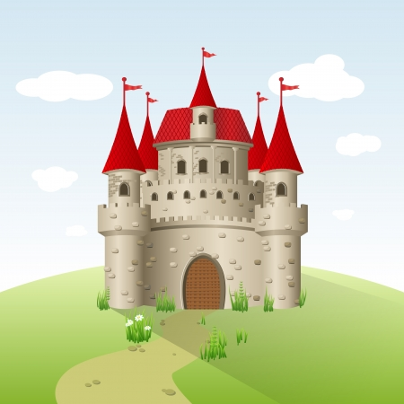 hadas caricatura: Castillo de cuento de hadas en un campo verde.