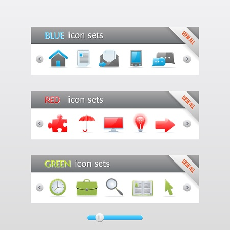 Clean vector banners with color icons. Stock Vector - 16398680