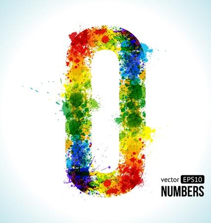 色の塗料が跳ねます。グラデーション ベクター フォントです。番号は 0 です。