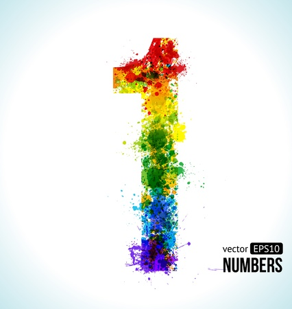 one colour: Color Paint splashes. Gradient Vector Font. Number 1. Illustration