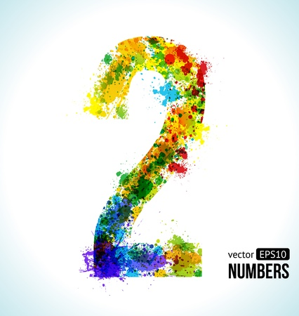Color Paint splashes. Gradient Vector Font. Number 2. 向量圖像