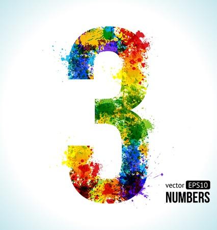 graffiti alphabet: Color Paint splashes. Gradient Vector Font. Number 3.